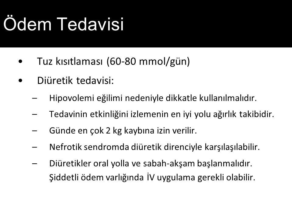 Ödem Tedavisi Tuz kısıtlaması (60-80 mmol/gün) Diüretik tedavisi: –Hipovolemi eğilimi nedeniyle dikkatle kullanılmalıdır.