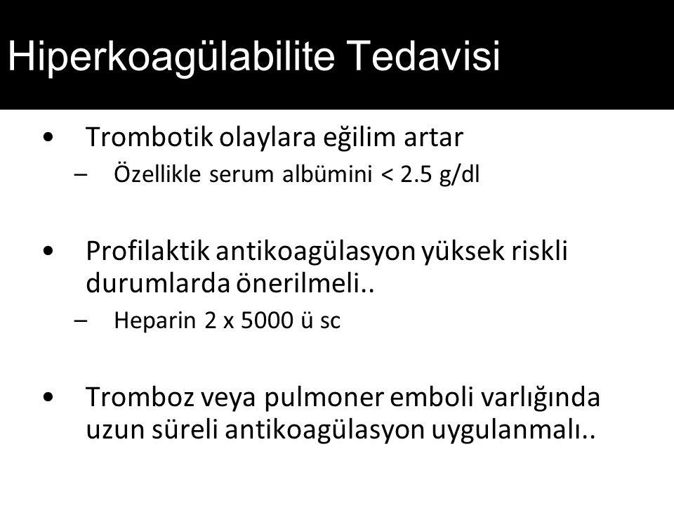 Hiperkoagülabilite Tedavisi Trombotik olaylara eğilim artar –Özellikle serum albümini < 2.5 g/dl Profilaktik antikoagülasyon yüksek riskli durumlarda önerilmeli..