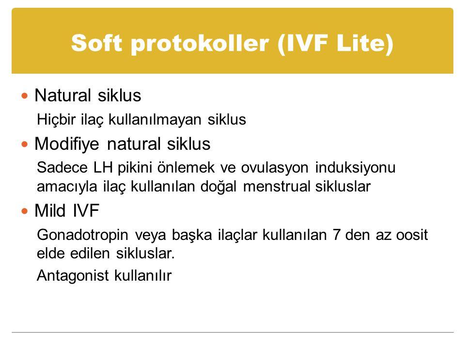 Soft protokoller (IVF Lite) Natural siklus Hiçbir ilaç kullanılmayan siklus Modifiye natural siklus Sadece LH pikini önlemek ve ovulasyon induksiyonu