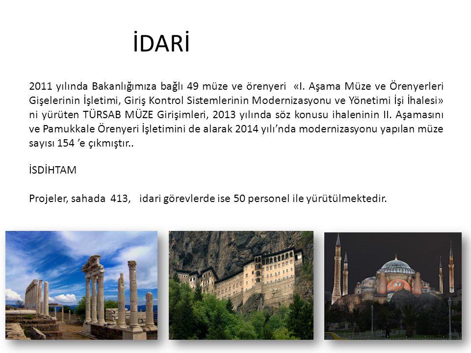 İDARİ 2011 yılında Bakanlığımıza bağlı 49 müze ve örenyeri «I. Aşama Müze ve Örenyerleri Gişelerinin İşletimi, Giriş Kontrol Sistemlerinin Modernizasy