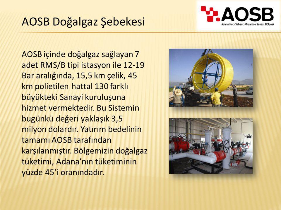 AOSB içinde doğalgaz sağlayan 7 adet RMS/B tipi istasyon ile 12-19 Bar aralığında, 15,5 km çelik, 45 km polietilen hattal 130 farklı büyükteki Sanayi