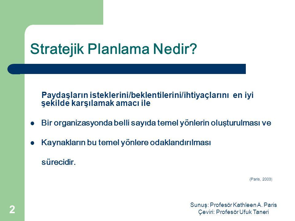 Sunuş: Profesör Kathleen A. Paris Çeviri: Profesör Ufuk Taneri 2 Stratejik Planlama Nedir.