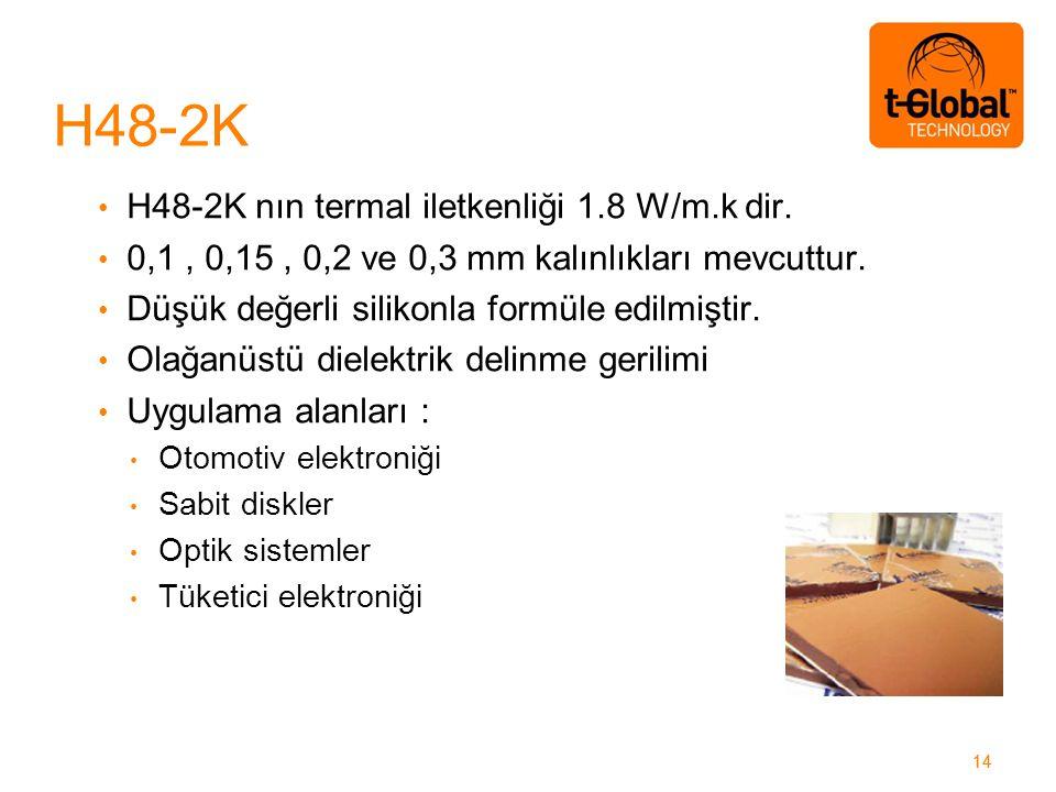 14 H48-2K nın termal iletkenliği 1.8 W/m.k dir. 0,1, 0,15, 0,2 ve 0,3 mm kalınlıkları mevcuttur.