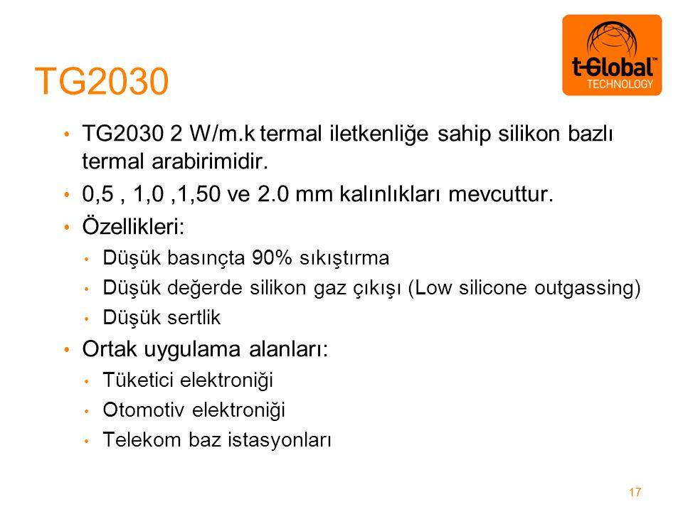 17 TG2030 2 W/m.k termal iletkenliğe sahip silikon bazlı termal arabirimidir.