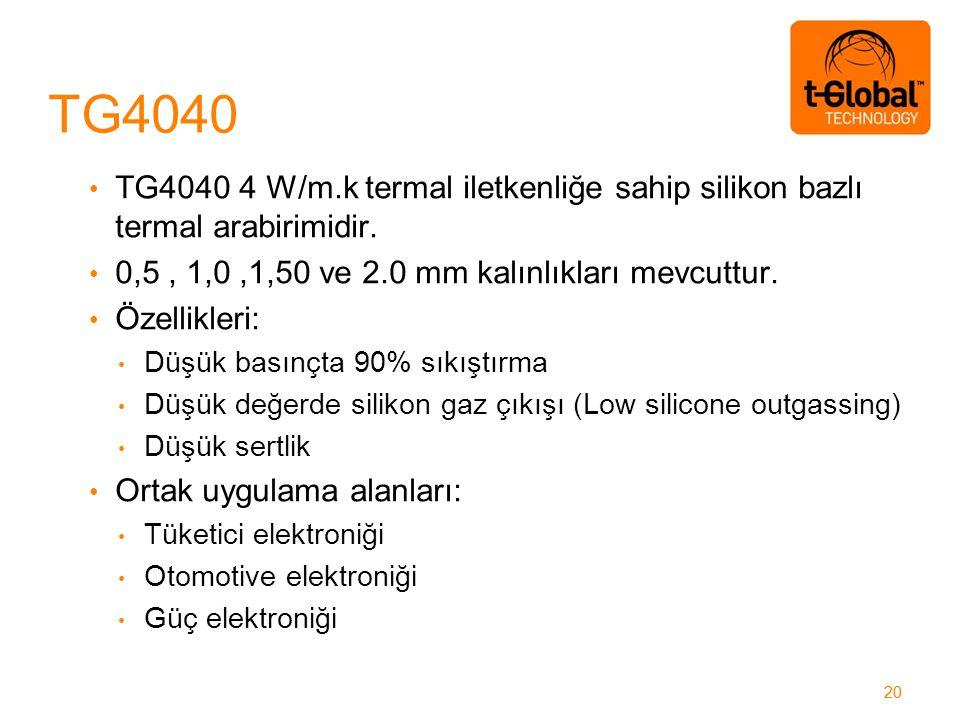 20 TG4040 4 W/m.k termal iletkenliğe sahip silikon bazlı termal arabirimidir.