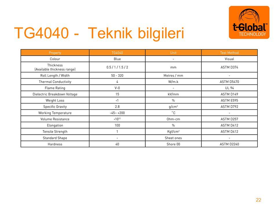 TG4040 - Teknik bilgileri 22