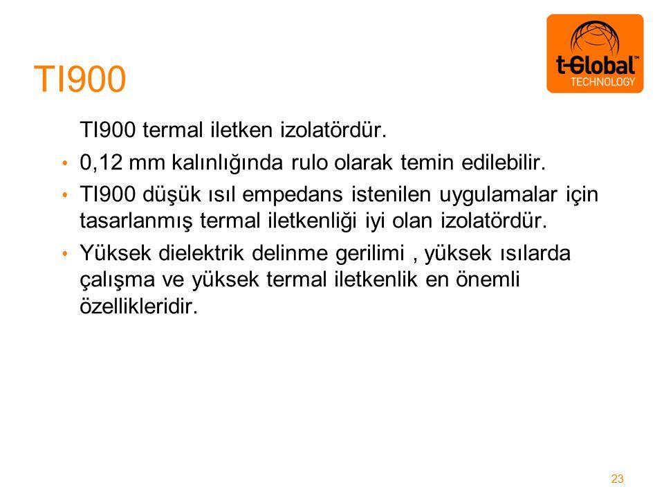 23 TI900 termal iletken izolatördür. 0,12 mm kalınlığında rulo olarak temin edilebilir.