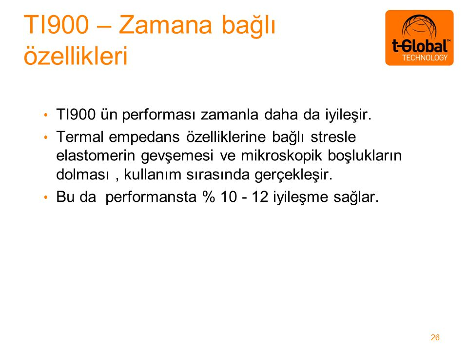 26 TI900 ün performası zamanla daha da iyileşir.