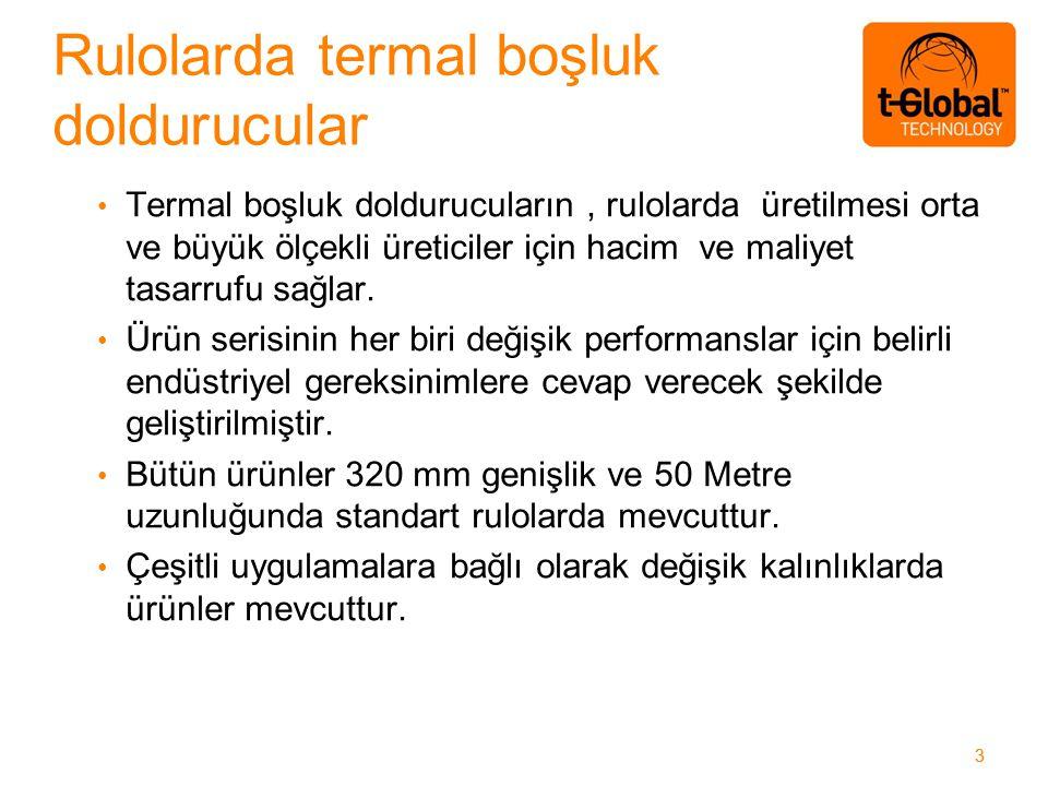 33 Termal boşluk doldurucuların, rulolarda üretilmesi orta ve büyük ölçekli üreticiler için hacim ve maliyet tasarrufu sağlar.