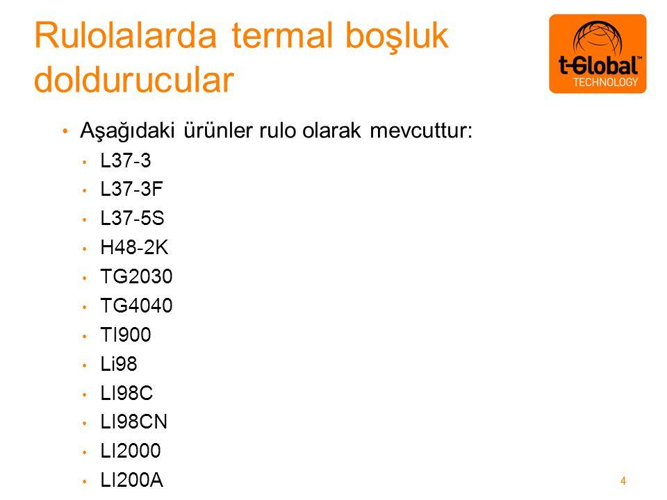 44 Aşağıdaki ürünler rulo olarak mevcuttur: L37-3 L37-3F L37-5S H48-2K TG2030 TG4040 TI900 Li98 LI98C LI98CN LI2000 LI200A Rulolalarda termal boşluk doldurucular