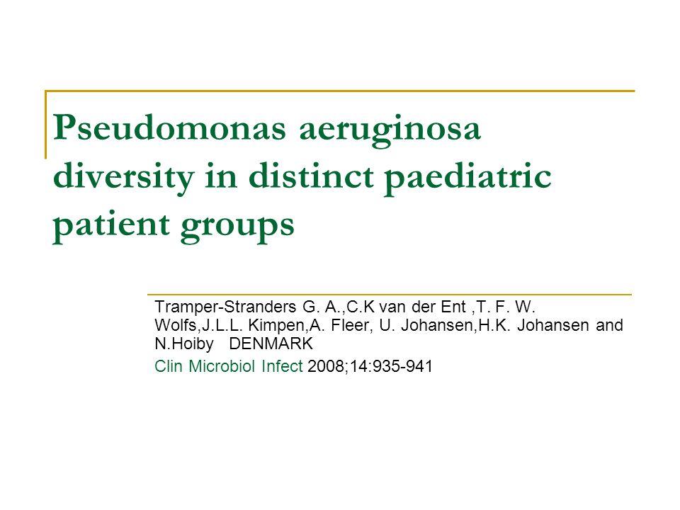 Pseudomonas aeruginosa diversity in distinct paediatric patient groups Tramper-Stranders G. A.,C.K van der Ent,T. F. W. Wolfs,J.L.L. Kimpen,A. Fleer,