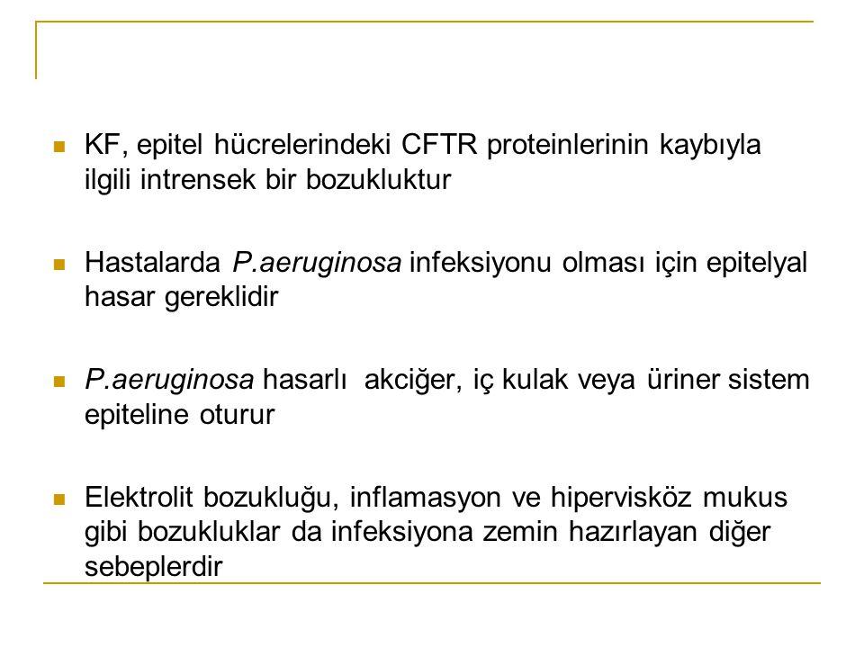 KF, epitel hücrelerindeki CFTR proteinlerinin kaybıyla ilgili intrensek bir bozukluktur Hastalarda P.aeruginosa infeksiyonu olması için epitelyal hasa