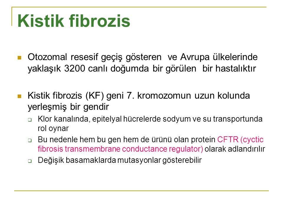 Kistik fibrozis Otozomal resesif geçiş gösteren ve Avrupa ülkelerinde yaklaşık 3200 canlı doğumda bir görülen bir hastalıktır Kistik fibrozis (KF) gen