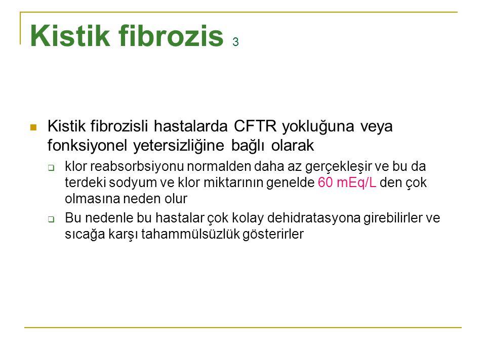 Kistik fibrozis 3 Kistik fibrozisli hastalarda CFTR yokluğuna veya fonksiyonel yetersizliğine bağlı olarak  klor reabsorbsiyonu normalden daha az ger