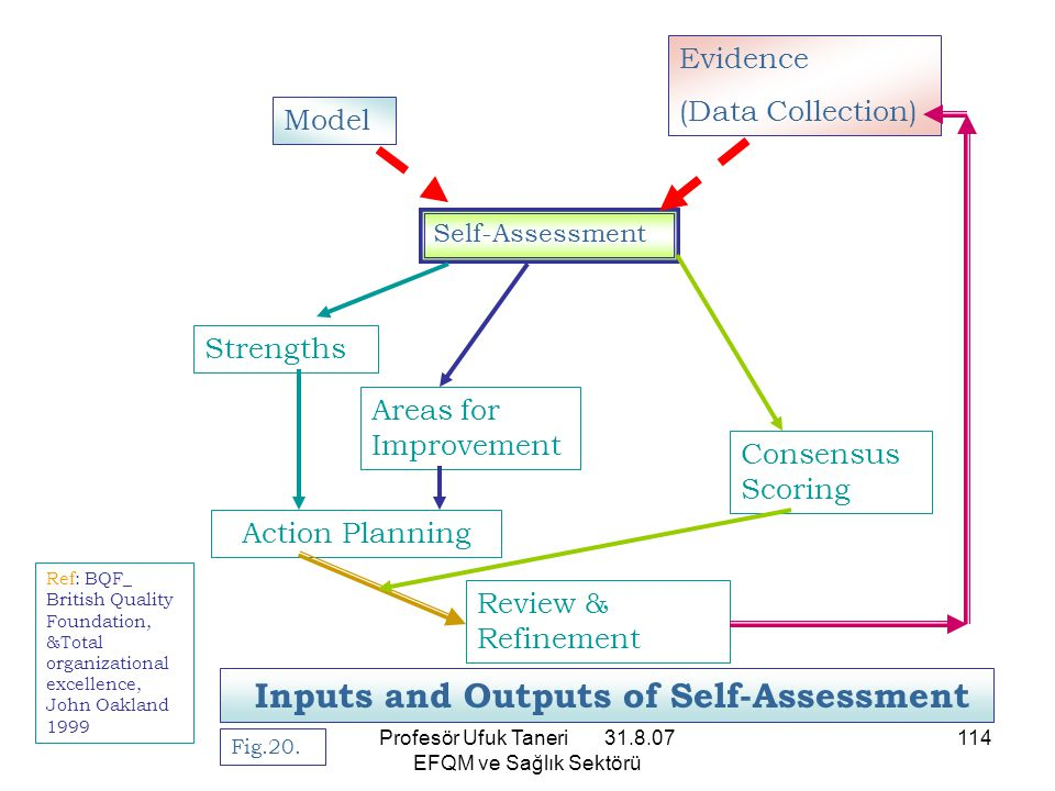 Profesör Ufuk Taneri 31.8.07 EFQM ve Sağlık Sektörü 114 Fig.20. Inputs and Outputs of Self-Assessment Self-Assessment Model Evidence (Data Collection)
