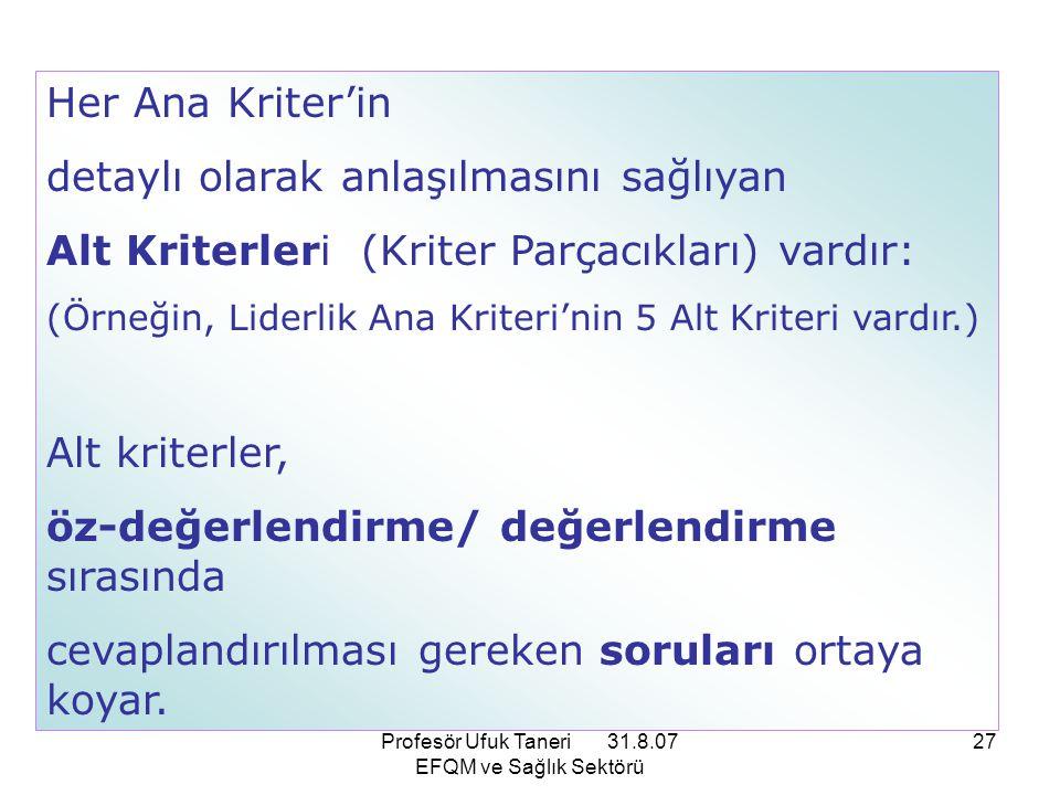 Profesör Ufuk Taneri 31.8.07 EFQM ve Sağlık Sektörü 27 Her Ana Kriter'in detaylı olarak anlaşılmasını sağlıyan Alt Kriterleri (Kriter Parçacıkları) va