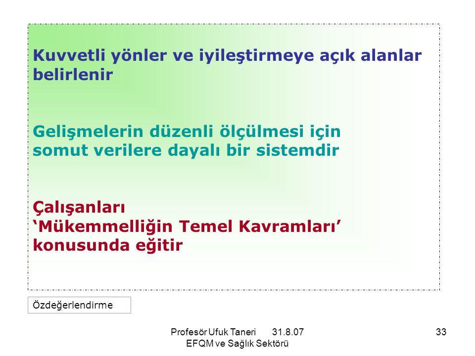 Profesör Ufuk Taneri 31.8.07 EFQM ve Sağlık Sektörü 33 Kuvvetli yönler ve iyileştirmeye açık alanlar belirlenir Gelişmelerin düzenli ölçülmesi için so
