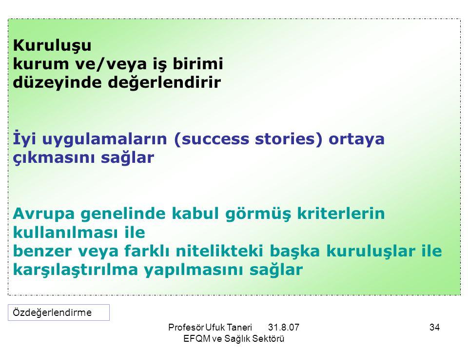 Profesör Ufuk Taneri 31.8.07 EFQM ve Sağlık Sektörü 34 Kuruluşu kurum ve/veya iş birimi düzeyinde değerlendirir İyi uygulamaların (success stories) or