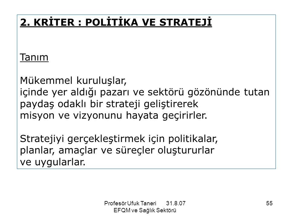 Profesör Ufuk Taneri 31.8.07 EFQM ve Sağlık Sektörü 55 2. KRİTER : POLİTİKA VE STRATEJİ Tanım Mükemmel kuruluşlar, içinde yer aldığı pazarı ve sektörü