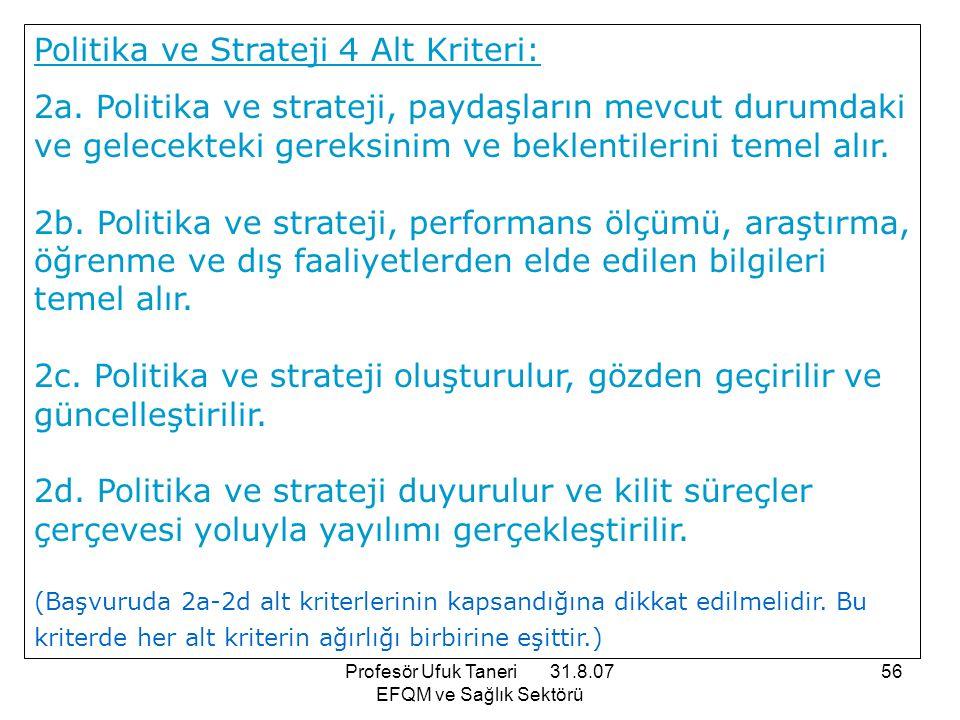 Profesör Ufuk Taneri 31.8.07 EFQM ve Sağlık Sektörü 56 Politika ve Strateji 4 Alt Kriteri: 2a. Politika ve strateji, paydaşların mevcut durumdaki ve g