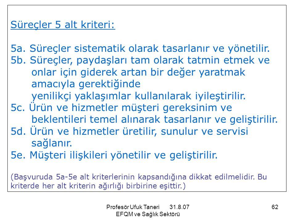 Profesör Ufuk Taneri 31.8.07 EFQM ve Sağlık Sektörü 62 Süreçler 5 alt kriteri: 5a. Süreçler sistematik olarak tasarlanır ve yönetilir. 5b. Süreçler, p