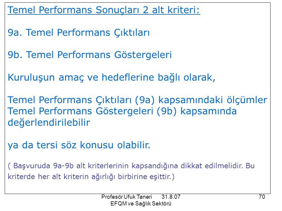 Profesör Ufuk Taneri 31.8.07 EFQM ve Sağlık Sektörü 70 Temel Performans Sonuçları 2 alt kriteri: 9a. Temel Performans Çıktıları 9b. Temel Performans G