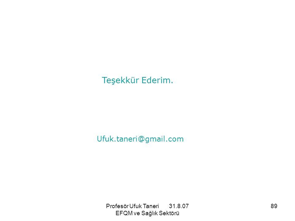 Profesör Ufuk Taneri 31.8.07 EFQM ve Sağlık Sektörü 89 Teşekkür Ederim. Ufuk.taneri@gmail.com