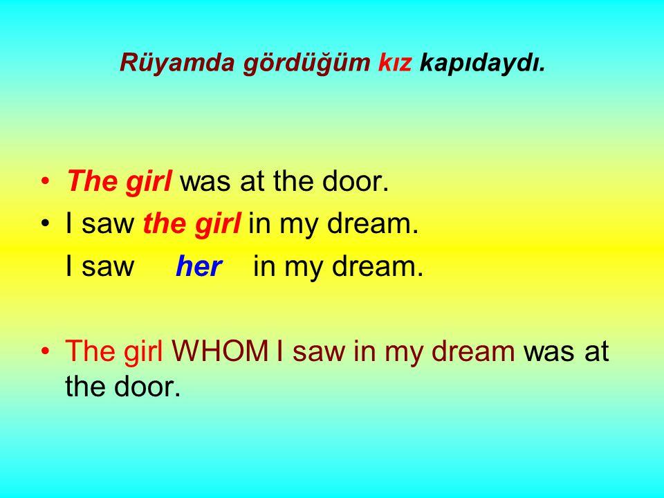 Rüyamda gördüğüm kız kapıdaydı. The girl was at the door.