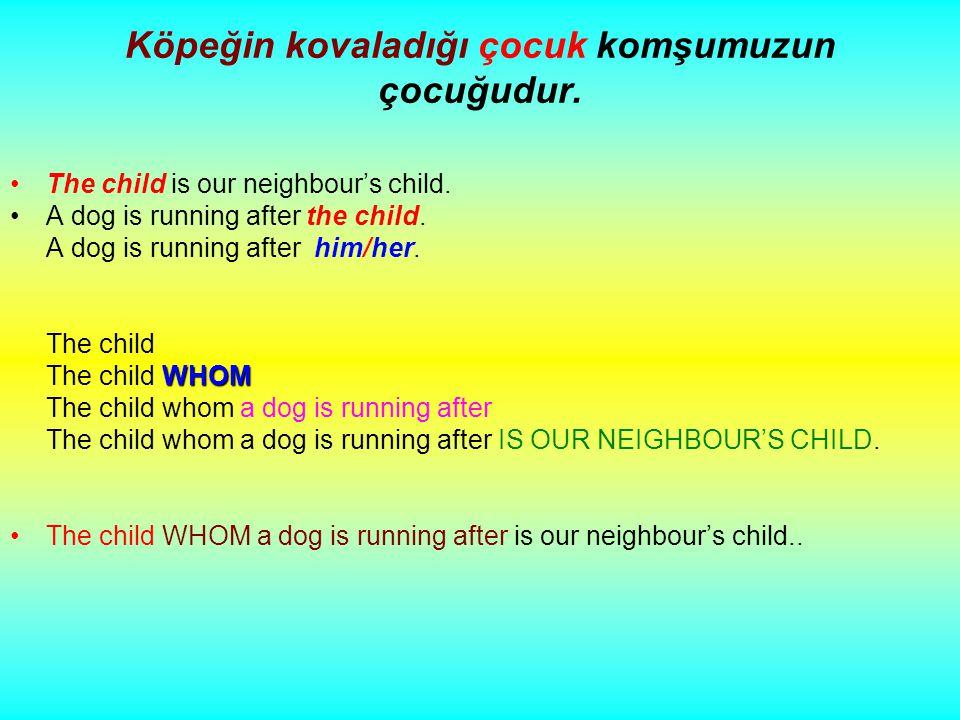 Köpeğin kovaladığı çocuk komşumuzun çocuğudur. The child is our neighbour's child.