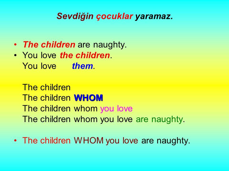 Sevdiğin çocuklar yaramaz. The children are naughty.