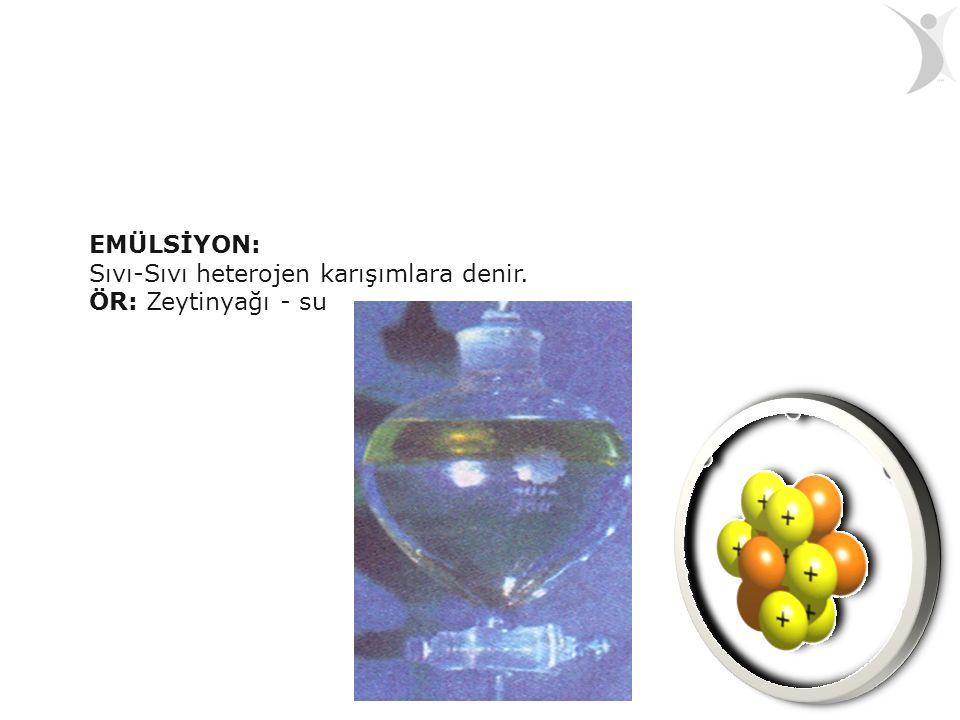 EMÜLSİYON: Sıvı-Sıvı heterojen karışımlara denir. ÖR: Zeytinyağı - su