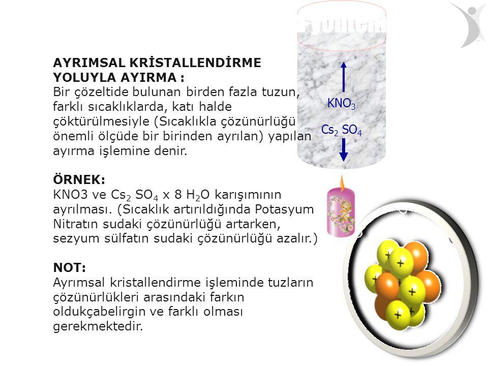 KNO 3 Cs 2 SO 4 AYRIMSAL KRİSTALLENDİRME YOLUYLA AYIRMA : Bir çözeltide bulunan birden fazla tuzun, farklı sıcaklıklarda, katı halde çöktürülmesiyle (
