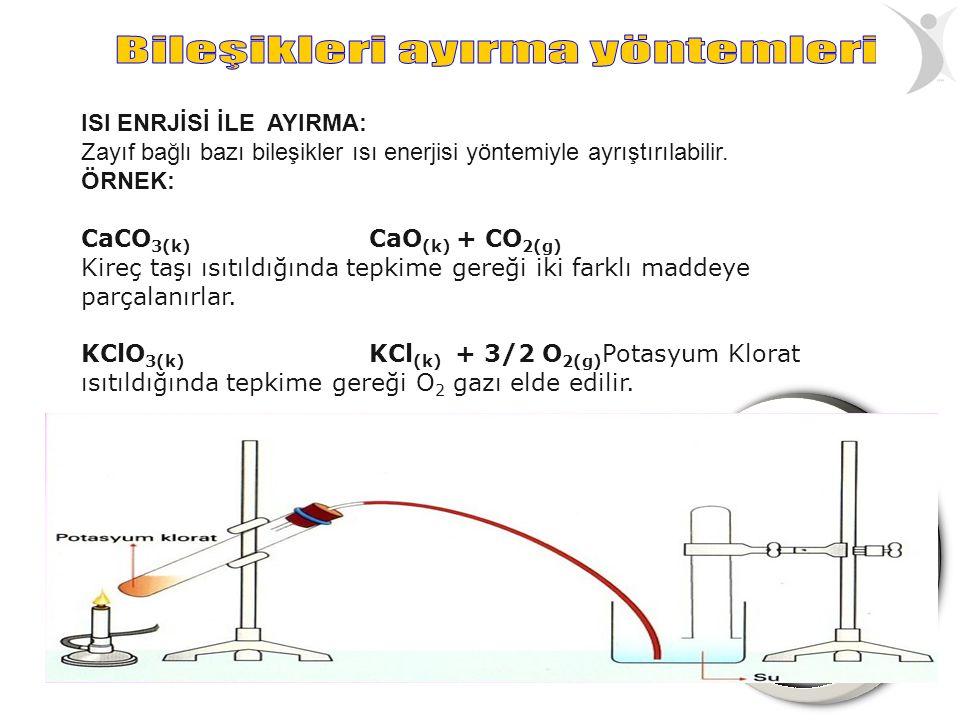 ISI ENRJİSİ İLE AYIRMA: Zayıf bağlı bazı bileşikler ısı enerjisi yöntemiyle ayrıştırılabilir. ÖRNEK: CaCO 3(k) CaO (k) + CO 2(g) Kireç taşı ısıtıldığı