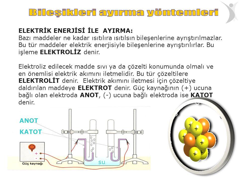 ELEKTRİK ENERJİSİ İLE AYIRMA: Bazı maddeler ne kadar ısıtılıra ısıtılsın bileşenlerine ayrıştırılmazlar. Bu tür maddeler elektrik enerjisiyle bileşenl