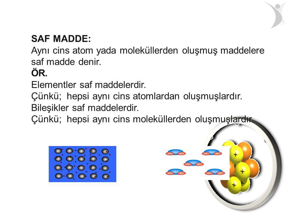 SAF MADDE: Aynı cins atom yada moleküllerden oluşmuş maddelere saf madde denir. ÖR. Elementler saf maddelerdir. Çünkü; hepsi aynı cins atomlardan oluş