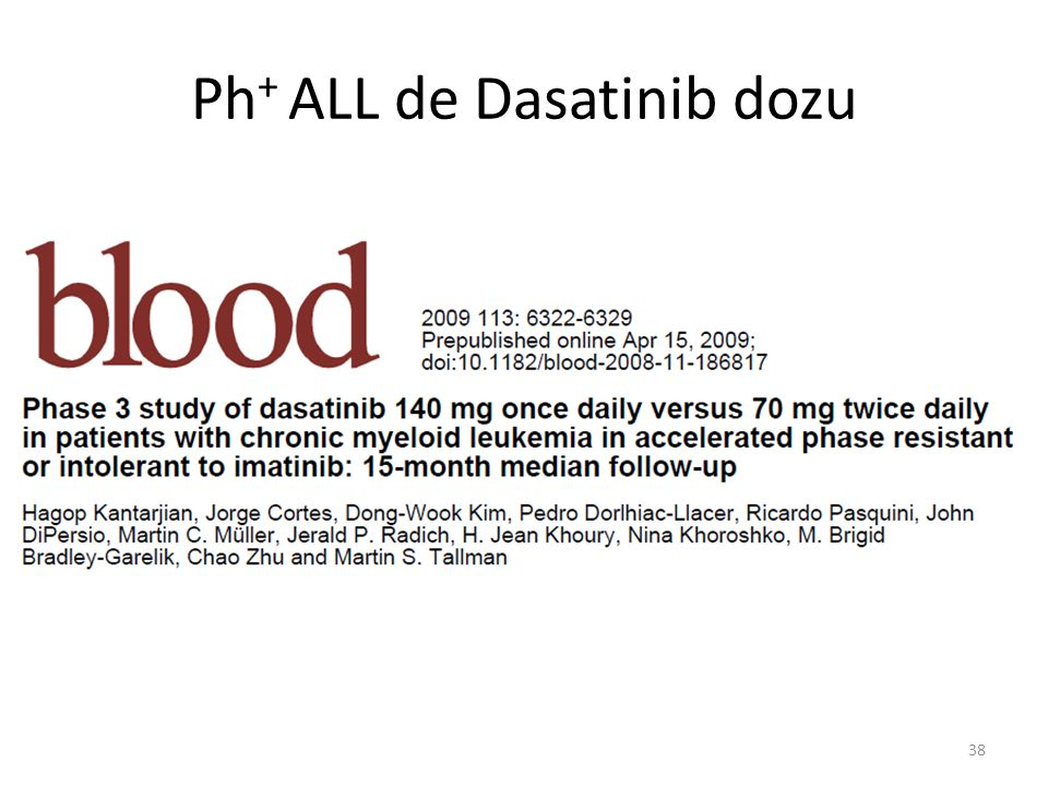 Ph + ALL de Dasatinib dozu 38