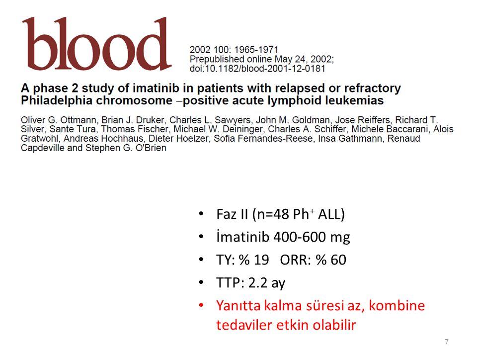 18 Terapötik düzeyde Kan-Beyin Bariyerini geçerek MSS nüksünün önlenmesinde/ tedavisinde etkindir De novo veya İmatinib dirençli Ph + ALL olgularında etkin ve güvenlidir – Faz II START-L çalışması, uzatılmış takip (  2 yıl) İmatinib dirençli ya da intoleran Ph + ALL 46 hasta 70 mg BID dozuyla Dasatinib