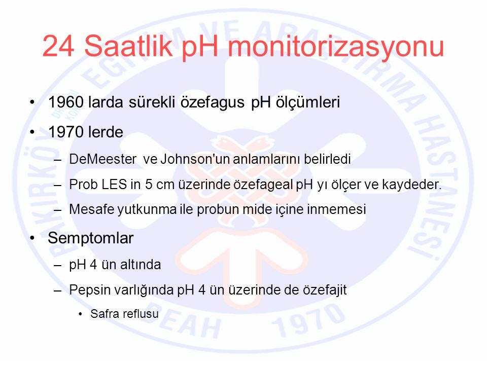 Kayıt –24 saat –Normal fizyolojijk aktivitelerine devam etmeli –Hamburger öğün –Yemekler sırasında sıvı almamalı –10 gündür PPI-2 gündür H2 bloker kullanmamalı – Kayıtlar yatarken, ayakta ve toplam olarak değerlendirmeye alınır 24 Saatlik pH monitorizasyonu