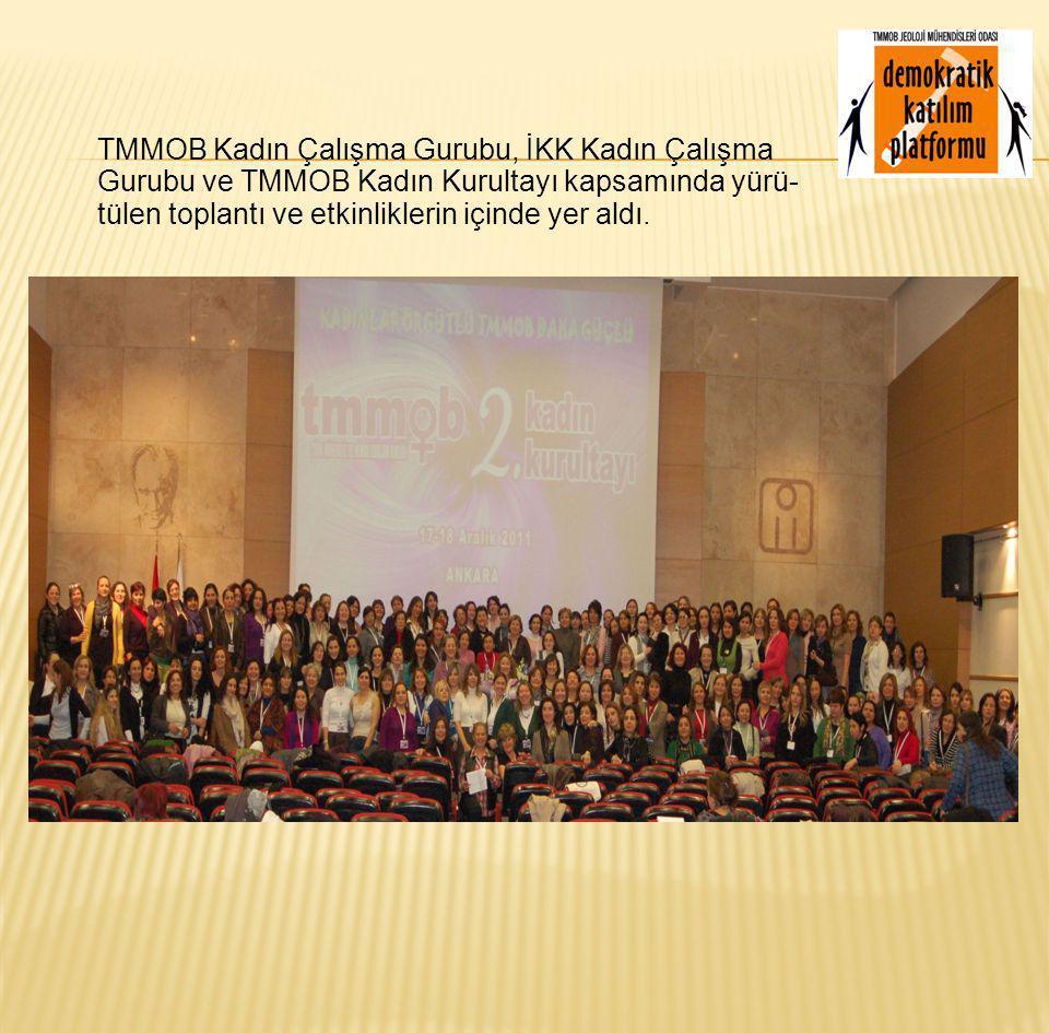 TMMOB Kadın Çalışma Gurubu, İKK Kadın Çalışma Gurubu ve TMMOB Kadın Kurultayı kapsamında yürü- tülen toplantı ve etkinliklerin içinde yer aldı.