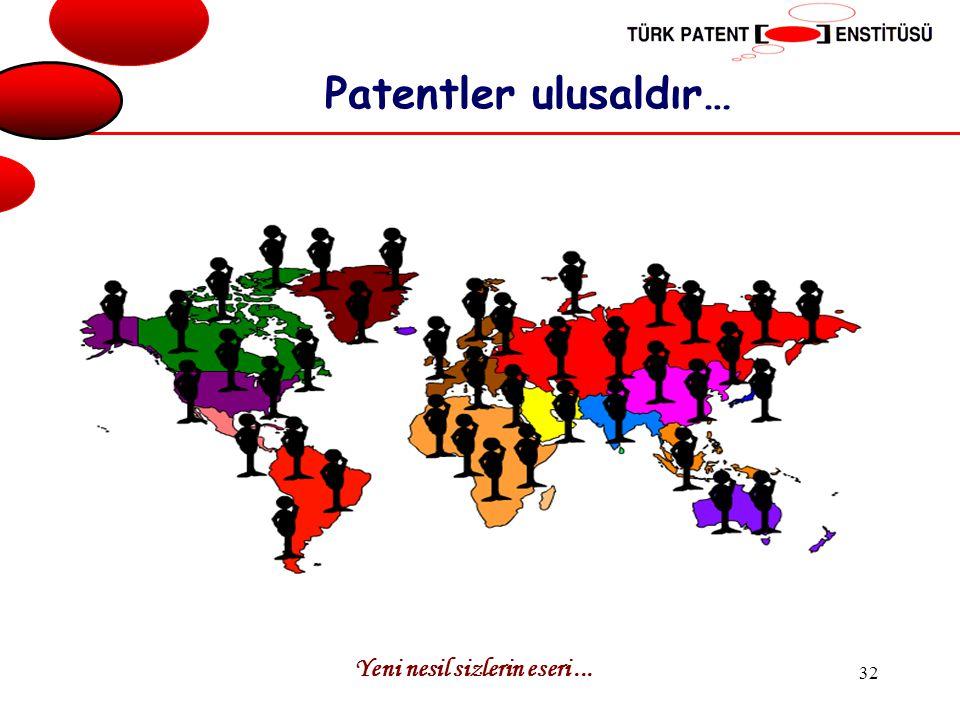 Yeni nesil sizlerin eseri... 32 Patentler ulusaldır…