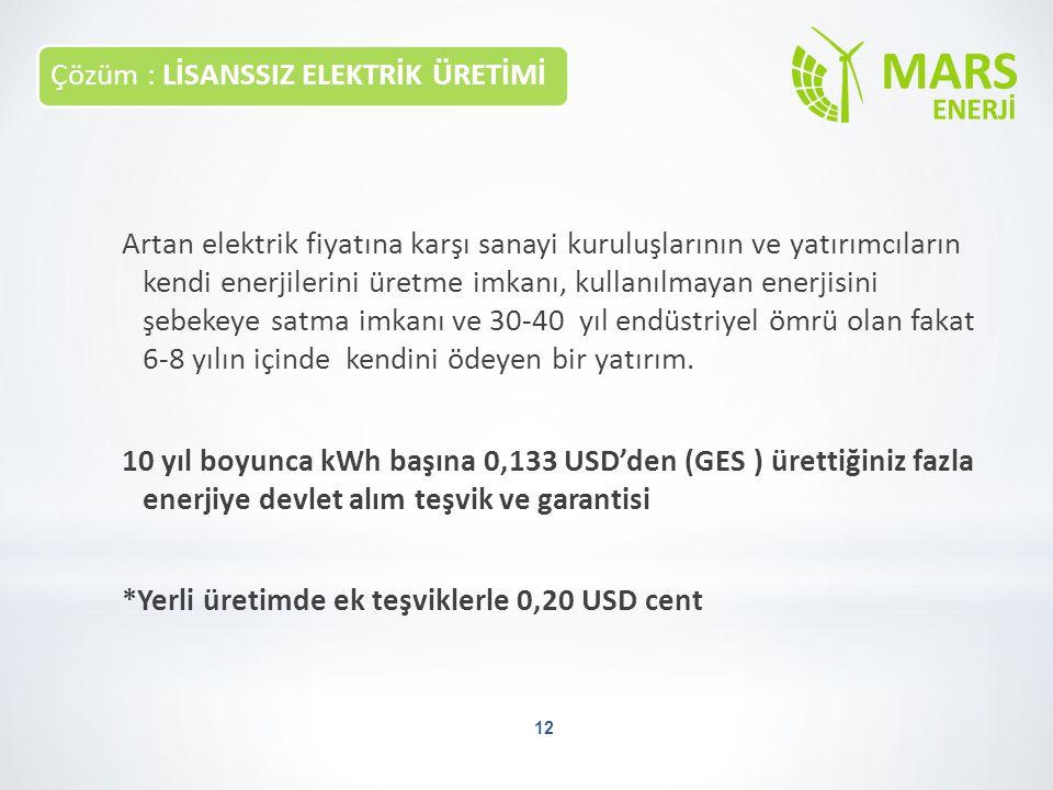 Çözüm : LİSANSSIZ ELEKTRİK ÜRETİMİ 12 Artan elektrik fiyatına karşı sanayi kuruluşlarının ve yatırımcıların kendi enerjilerini üretme imkanı, kullanıl