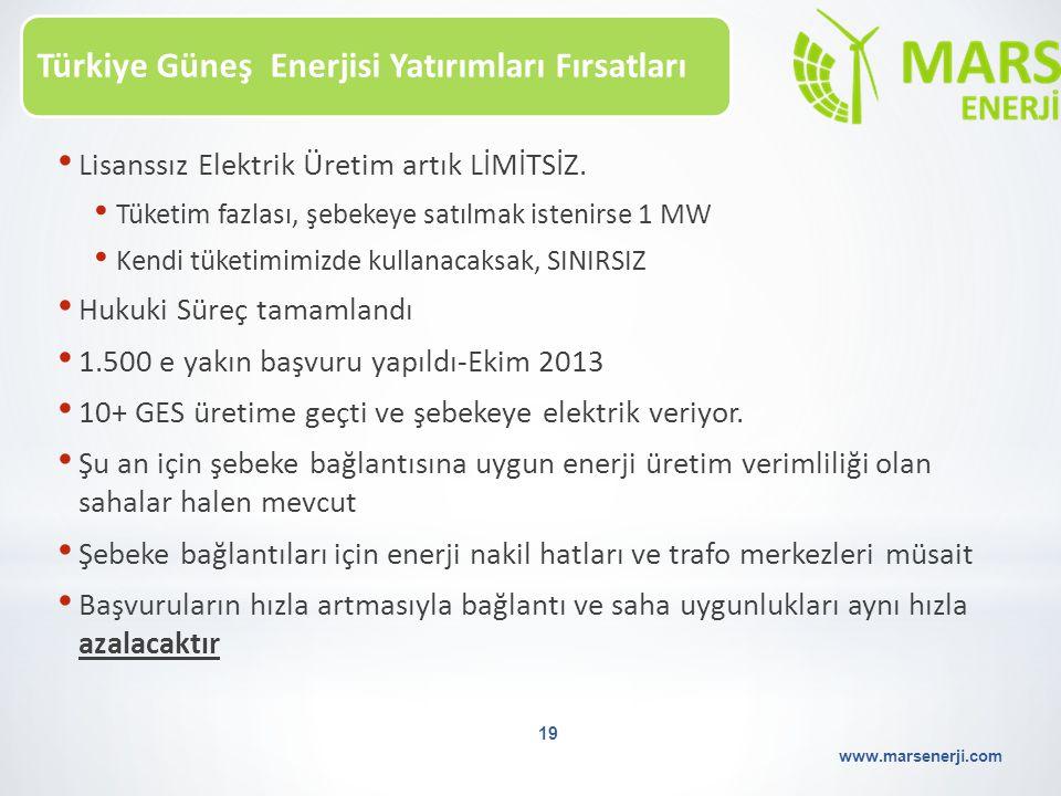 Türkiye Güneş Enerjisi Yatırımları Fırsatları www.marsenerji.com 19 Lisanssız Elektrik Üretim artık LİMİTSİZ. Tüketim fazlası, şebekeye satılmak isten