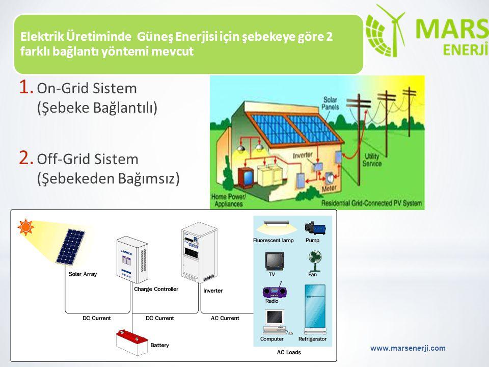 Elektrik Üretiminde Güneş Enerjisi için şebekeye göre 2 farklı bağlantı yöntemi mevcut www.marsenerji.com 21 1. On-Grid Sistem (Şebeke Bağlantılı) 2.