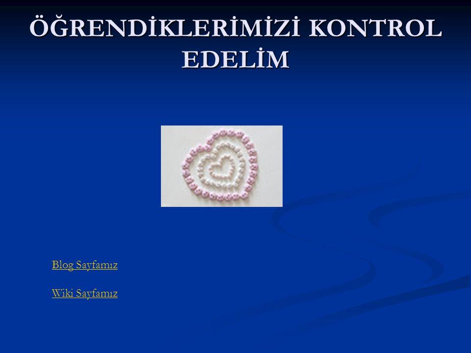 ÖĞRENDİKLERİMİZİ KONTROL EDELİM Blog Sayfamız Wiki Sayfamız