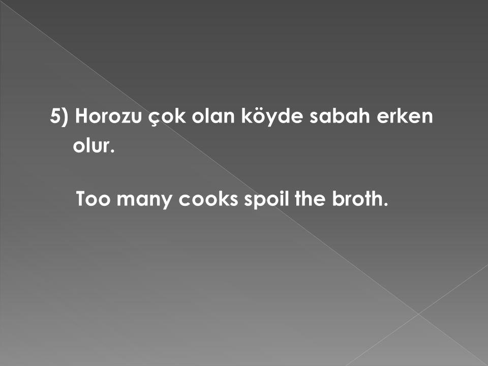 5) Horozu çok olan köyde sabah erken olur. Too many cooks spoil the broth.