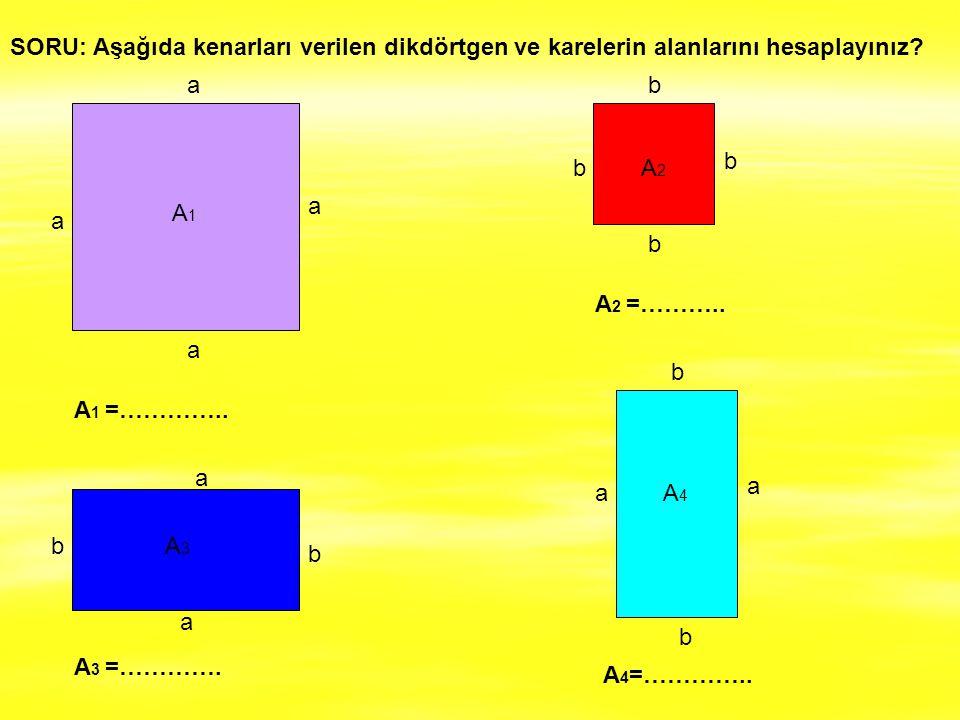 SORU: Aşağıda kenarları verilen dikdörtgen ve karelerin alanlarını hesaplayınız? a a a a a a a a b b b b b b b b A 1 =………….. A 3 =…………. A 2 =……….. A 4