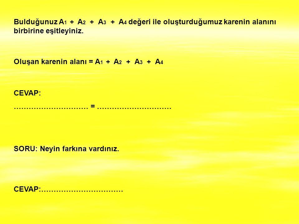 Bulduğunuz A 1 + A 2 + A 3 + A 4 değeri ile oluşturduğumuz karenin alanını birbirine eşitleyiniz. Oluşan karenin alanı = A 1 + A 2 + A 3 + A 4 CEVAP: