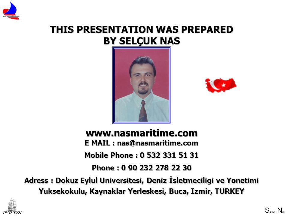 S elçuk N as SELÇUK NAS THIS PRESENTATION WAS PREPARED BY SELÇUK NAS www.nasmaritime.com E MAIL : nas@nasmaritime.com Mobile Phone : 0 532 331 51 31 P
