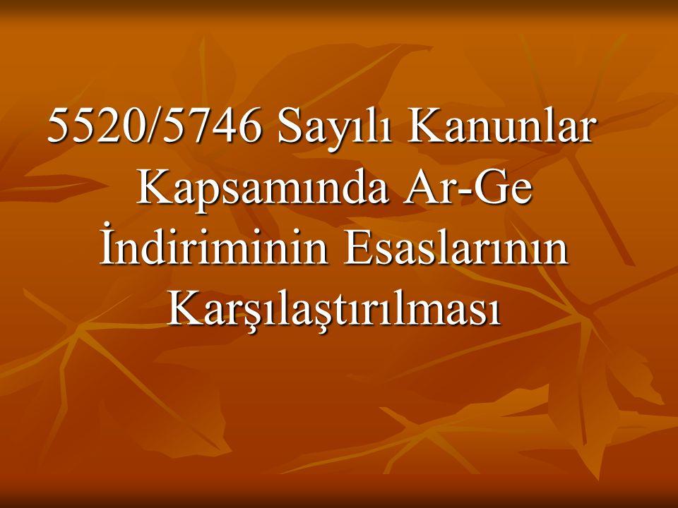 5520/5746 Sayılı Kanunlar Kapsamında Ar-Ge İndiriminin Esaslarının Karşılaştırılması