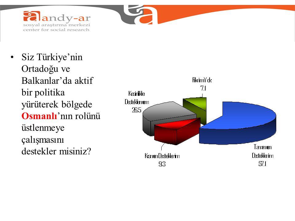 Siz Türkiye'nin Ortadoğu ve Balkanlar'da aktif bir politika yürüterek bölgede Osmanlı'nın rolünü üstlenmeye çalışmasını destekler misiniz?